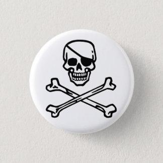 Skull (white) 3 cm round badge