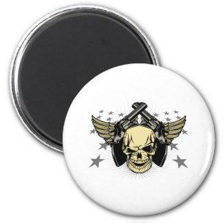 Skull Wings Guns Stars 6 Cm Round Magnet