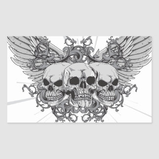 Skull Wings Rectangular Sticker
