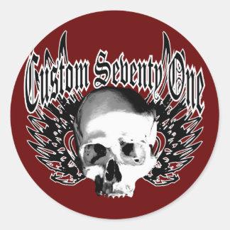 Skull Wings Round Sticker