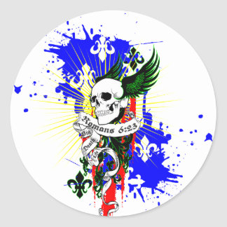 Skull & Wings SK8Board Shirt Classic Round Sticker