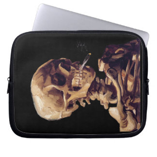 Skull with a burning cigarette by Van Gogh Laptop Sleeve