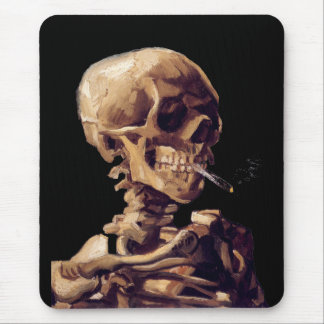 Skull with a burning cigarette by Van Gogh Mouse Pad