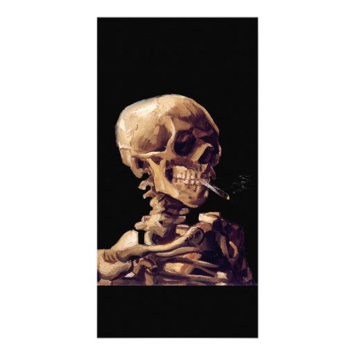 Skull with a burning cigarette by Van Gogh Photo Greeting Card
