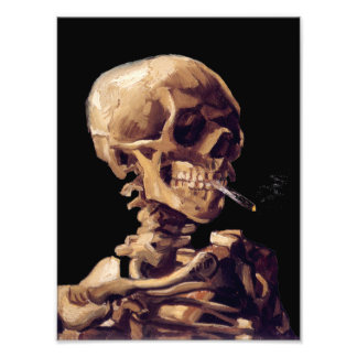 Skull with a burning cigarette by Van Gogh Art Photo