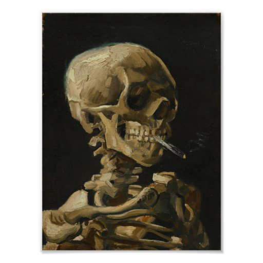Skull with a Burning Cigarette by Van Gogh Poster