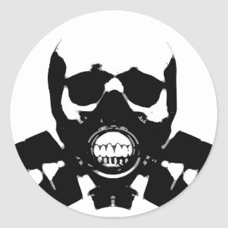 Skull_with_a_gas_mask Classic Round Sticker