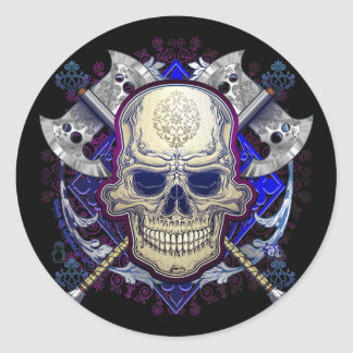 Skull with axes sticker design