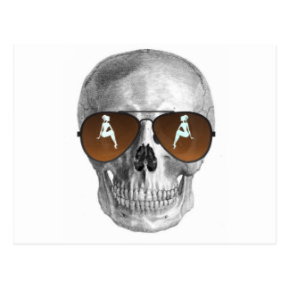 SKULL WITH BABE SHADES POSTCARD