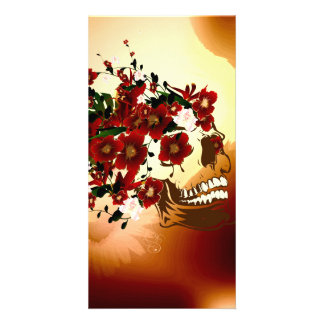 Skull with beautiful flowers photo card