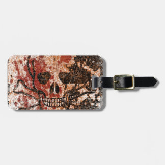 Skull with blood drops luggage tag