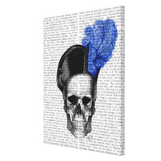 Skull with Blue Hat Canvas Print
