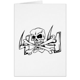 Skull with bones greeting cards