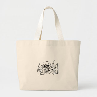 Skull with bones jumbo tote bag