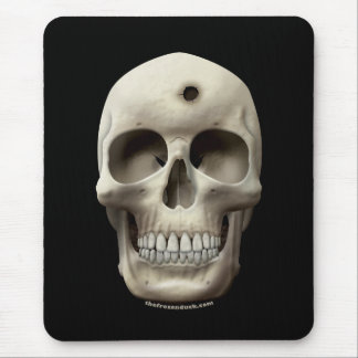 Skull with Bullet Hole Mouse Pad