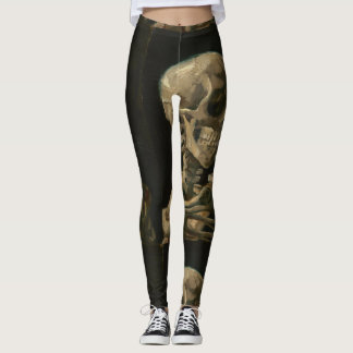 Skull with Burning Cigarette by Van Gogh Leggings