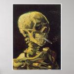Skull with Burning Cigarette, Van Gogh Poster