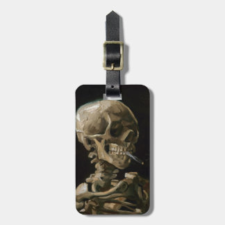 Skull with Burning Cigarette Vincent van Gogh Art Luggage Tag