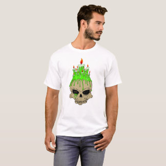 Skull with Candles Men's T-Shirt, White T-Shirt