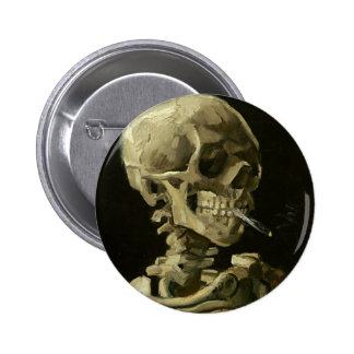 Skull with Cigarette by Van Gogh 6 Cm Round Badge