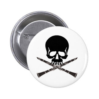 Skull with Clarinets and Crossbones 6 Cm Round Badge