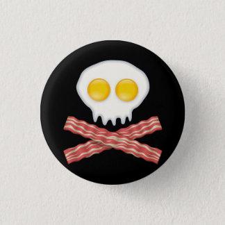 Skull With Crossed Bacon  Skull Bacon Eggs 3 Cm Round Badge
