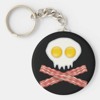 Skull With Crossed Bacon  Skull Bacon Eggs Basic Round Button Key Ring