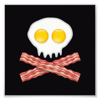 Skull With Crossed Bacon  Skull Bacon Eggs Photograph