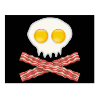 Skull With Crossed Bacon  Skull Bacon Eggs Postcard