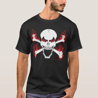 Skull with Crossed Bones and Flames Men's T-Shirt
