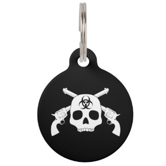 Skull with Crossed Guns Pet Tag