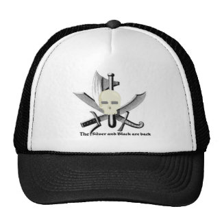 SKULL WITH CROSSED WEAPONS SILVER AND BLACK TRUCKER HAT