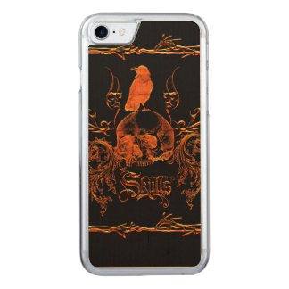 Skull with crow and floral elements carved iPhone 8/7 case