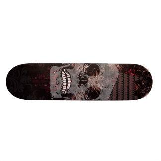Skull with Crown on Grunge Black Lace Red Damask Skate Board Decks