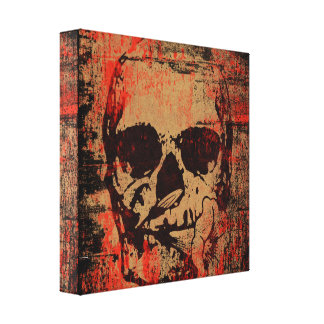Skull with flower canvas print