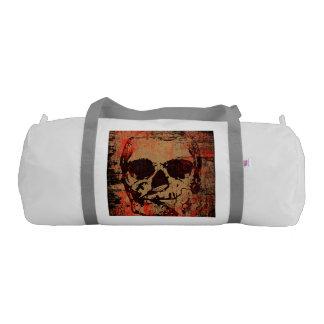 Skull with flower gym bag