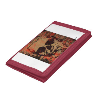 Skull with flower trifold wallet