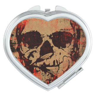 Skull with flower vanity mirror