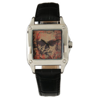 Skull with flower watch