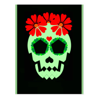 Skull With Flowers Postcard