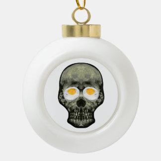 Skull with Fried Egg Eyes Ceramic Ball Christmas Ornament