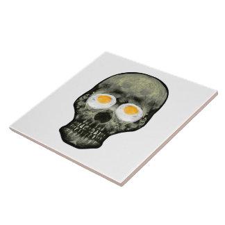 Skull with Fried Egg Eyes Ceramic Tile