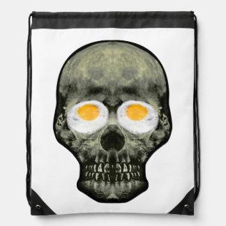 Skull with Fried Egg Eyes Drawstring Bag