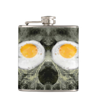 Skull with Fried Egg Eyes Hip Flask