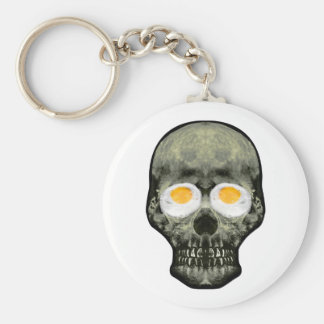 Skull with Fried Egg Eyes Key Ring