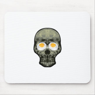 Skull with Fried Egg Eyes Mouse Pad