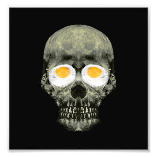 Skull with Fried Egg Eyes Photo Print