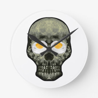 Skull with Fried Egg Eyes Round Clock