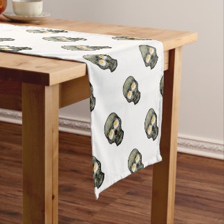 Skull with Fried Egg Eyes Short Table Runner