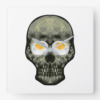Skull with Fried Egg Eyes Square Wall Clock